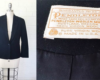 80s Vintage Black Wool PENDLETON Blazer Jacket S to M