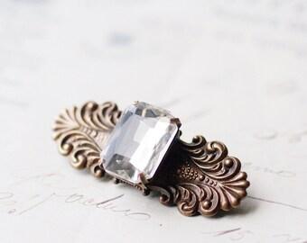 Victorian crystal hair clip gem barrette vintage jewel brass bronze finish antique style bridal hair clip wedding hair jewelry