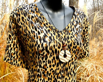 Vintage MPH Dress - Leopard Print in Gauze - Size Medium to Large