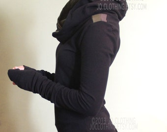 extra long sleeved hooded top/colorblock shoulders/Black with DarkOlive/Cement Grey