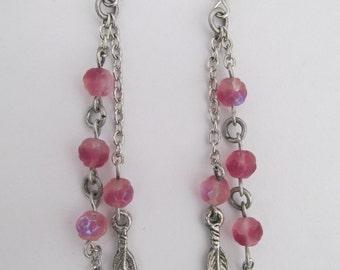 Chain & Bead Dangle Earrings - Dusty Rose