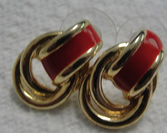 Red Enamel Gold Tone Knot Pierced Earrings