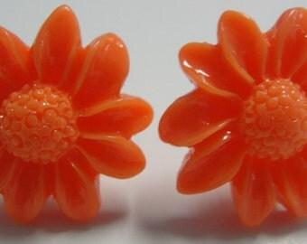 Orange Acrylic Flower Pierced Earrings