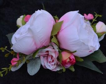 Bridal Hair Comb, Bridal Hair Clip, Pink Rose Clip, Bridal Hair Piece, Bridal Hair Flower, Hair Accessory, Flower Hair Clip
