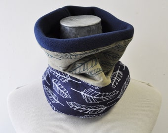 Neckwarmer, Fleece Cowl, Feather, sage green and navy feather, ski and snowboard