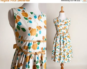 ON SALE Vintage 1960s Floral Dress - Mustard Yellow Cotton Day Dress - XS