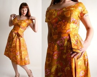 ON SALE Vintage 1960s Floral Dress - Silk Mustard Yellow Off Shoulder Shantung Party Dress - Medium