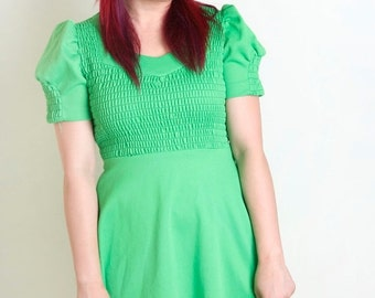 ON SALE 1970s Mini Dress in Neon Lime Green - Smocked Dolly Dress - Small