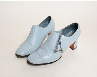 ON SALE Vintage 1960s Ankle Boots - Norman Kaplan Pale Powder Blue Booties - Size US 8