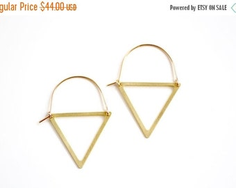 FALL SALE 30% OFF Triangle Cutout Hoop Earrings - Gold or Silver
