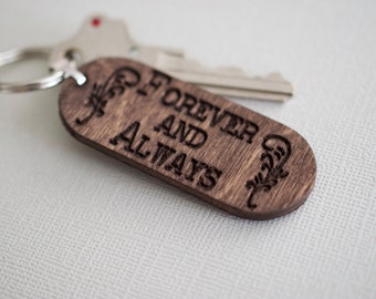 Forever and Always Keychain - Custom Engraved Wood Keychain - Personalized Keychain - Personalized Accessory