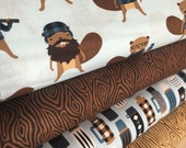 Burly Beavers Fabric Bundle of 4, Hipster fabric, Lumberjack, Animal fabric, Plaid, Robert Kaufman- Choose the cuts, Free Shipping Available