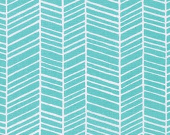 Cotton Fabric by the Yard, Herringbone fabric, True Colors fabric, Quilt fabric, Aqua fabric, Aqua Herringbone fabric by Joel Dewberry