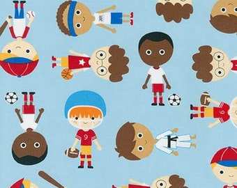 Sport Kids, Boy Fabric, Soccer fabric, Baseball fabric, Basketball fabric, Karate fabric, Ann Kelle, Boys in Park Blue, Choose Your Cut