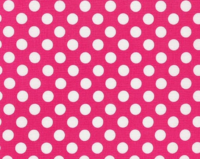 Sale Fabric, Spot on Polka Dot fabric, Quilt fabric, Cotton Fabric by the Yard, Hot Pink and White fabric, Robert Kaufman, Choose your cut