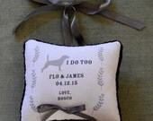 dog ring bearer pillow, wedding decor, custom ring pillow