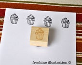 Custom Rubber Stamp - Cupcake Stamp - Simple and Cute Stationery Stamp