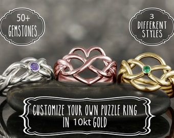 Customize your own puzzle ring in 10kt gold • 80 gemstones • 3 shapes heart, celtic narrow • 3 color gold white gold, rose gold yellow gold