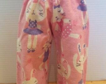 Bunny Ballerina doll Pajama PJ flannel doll pants, 18 inch doll clothes, Doll Bunny Pants, Doll Ballet pants, 18 inch doll pants