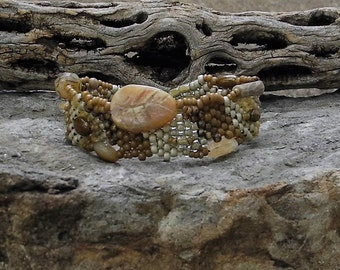 Jewelry - Free Form Peyote Stitch Beaded Bracelet  - Bead Weaving - African Opal - BOHO