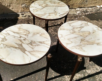 Trio of Vintage Nesting Stacking Mid Century Modern Laminate and Walnut Wood Round Accent Side Tables