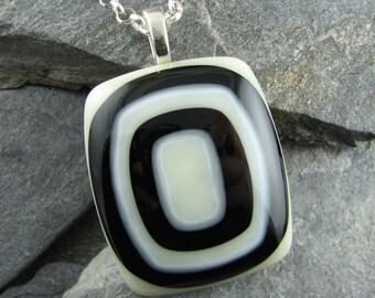 Black and Ivory Glass Pendant. Fused Glass Jewelry. Classic Black. Geometric Jewelry. Mod Necklace. Trendy Jewelry. Casual Jewelry.