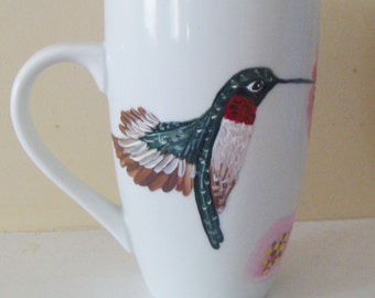 Hummingbird Mug, Christmas, Hummingbirds, mothers day,  Morning, Floral, Spring, Birds, bird Art, Hummingbird, dishes, tableware