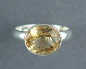 Citrine Cocktail Ring, Oval Cut Stone, Bezel Set, Solid Sterling Silver, Made to Order, Free Courier Shipping