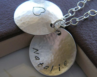 Personalized Locket Necklace - Hand Stamped Sterling Silver Jewelry - Domed and Textured Heart Cupola with Optional Birthstone Drop or Pearl
