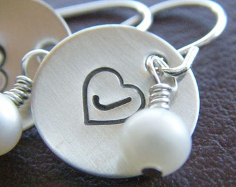 Personalized Initial Earrings - Hand Stamped Sterling Silver - Initial Heart Monogram Charms with Birthstones or Pearls