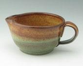 Pottery Kitchen Pancake Batter Bowl, Handmade Pottery Quart Mixing Bowl, Large Gravy Pouring Bowl for Serving, Honey Sage, Ready to Ship