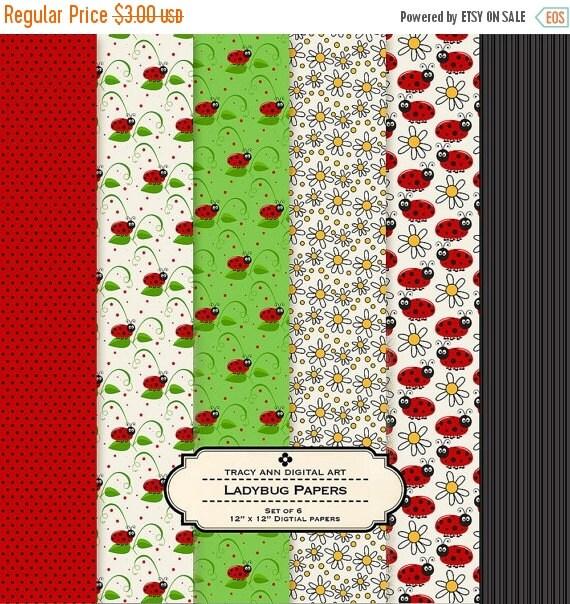 Ladybug Digital Paper - Set of 6