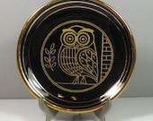 "1970's Ceramic KE Hand Made Owl Plate Wall Decor Made in Greece 24K Gold Details 5.25"""