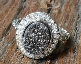 Dara Ettinger BETH Druzy Ring in Silver/ Clear sz 7.5