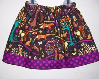 Girls Skirt with Fox Norwegian Woods Forest Animals Skirt Michael Miller Woodland Animals Spring Skirt toddler skirt Forest Birthday