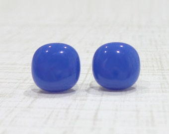 Blue Earrings, Cobalt Blue Post Earrings, Casual Jewelry, Hypoallergenic, Fused Glass Jewelry - - 2091-6