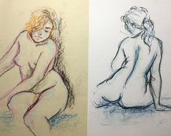 Figure drawing in oil pastel - set of two