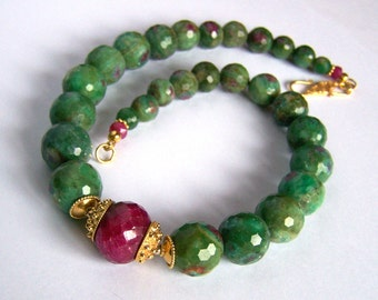 Faceted Ruby Fuchsite necklace Bali Gold Vermeil, Ruby large green pink fuschite zoisite, natural stone handmade jewelry PinkOwlJewelry