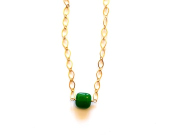 Simple Modern Geometric Square Green Jade Gemstone Pendant 14k Gold Chain Necklace /Wedding Jewelry / Still Alice Style Green Gold Necklace