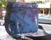 Blue Bamboo Cotton Print Messenger Saddle Bag, Cross body Asian Print Shoulder Bag
