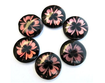 6 buttons,black with pink flower,  21mm, new,suitable for button jewelry