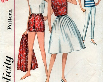 Vintage 1960s Sewing Pattern Skirt Blouse Top Shorts and Pants Mod Style 34 inch bust 87cm Simplicity 4948
