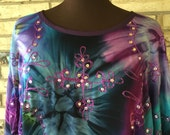 Plus Size Lightweight Sequined Rayon Tie Dye Tunic