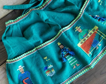 Vintage indian kitchen towel apron embroidery cross stitch peruvian marumba collectible textile clothing
