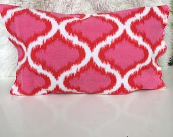Geometric pink orange pillow cover  soft fleece  home decor modern scandinavian throw cushion