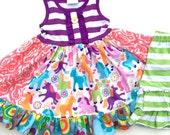 Unicorn dress birthday party Pink Momi boutique girls birthday vacation dress