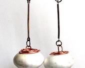 Summer sale Wire wrapped Gemstone Copper Long Earrings