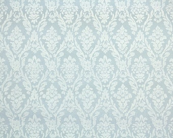 1960's Vintage Wallpaper - Blue and White Damask