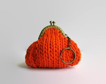 Orange Coin Purse, Kiss Lock Coin Purse, Coin Purse Keychain, Money Holder, Knitted Pouch, Change Purse, Small Coin Purse, Clasp Coin Purse