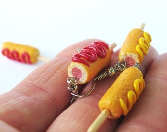 Christmas in July - Corn Dog Earrings, Food Jewelry, Carnival Jewelry, Corn Dog, Hot Dog Earrings